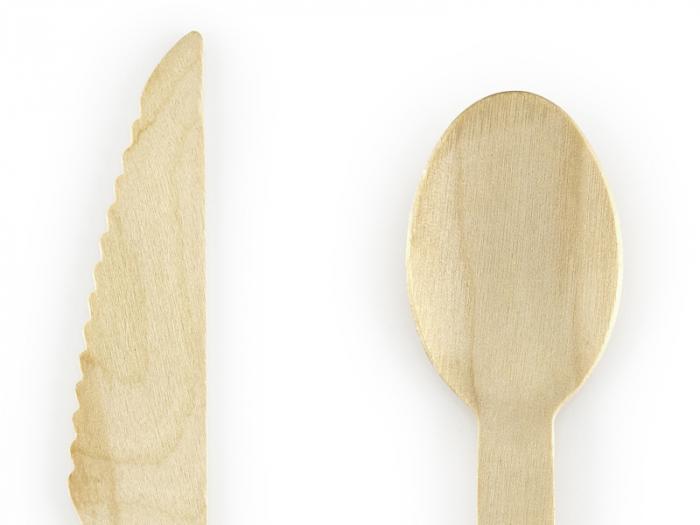 Set 18 Tacamuri Lemn, Negru - 16 cm 1