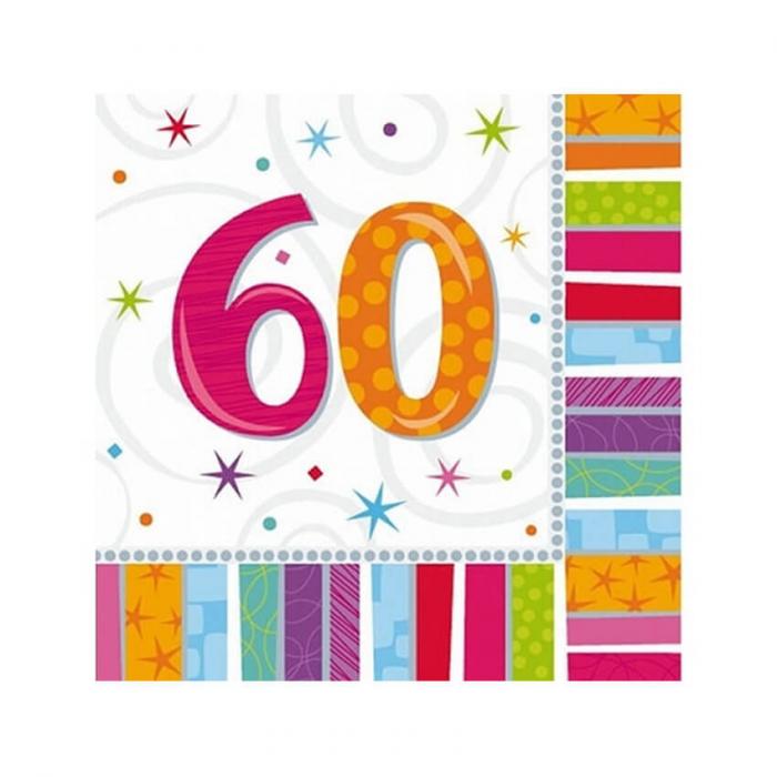 Set 16 Servetele aniversare 60 ani 0
