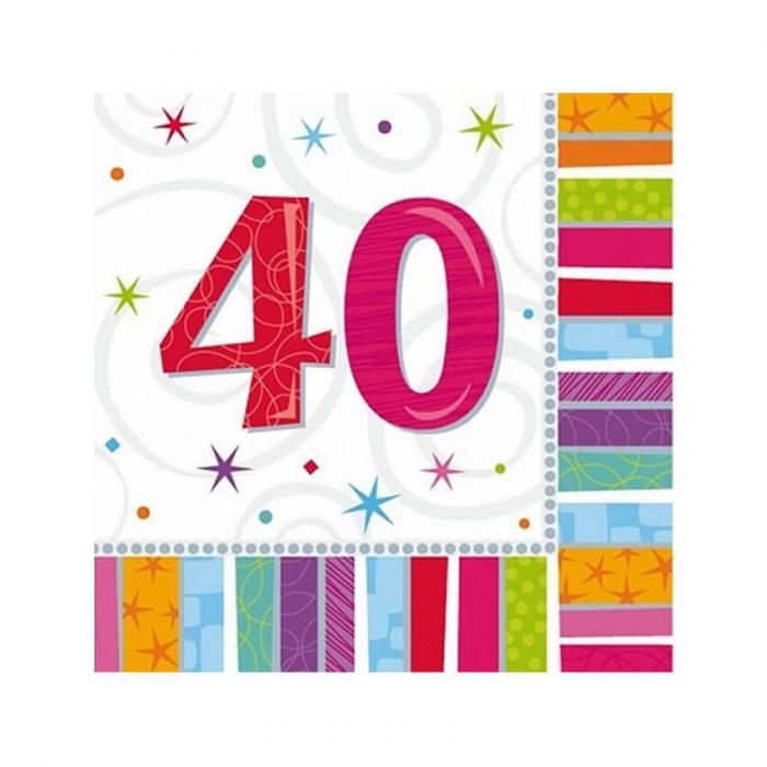 Set 16 Servetele aniversare 40 ani 0