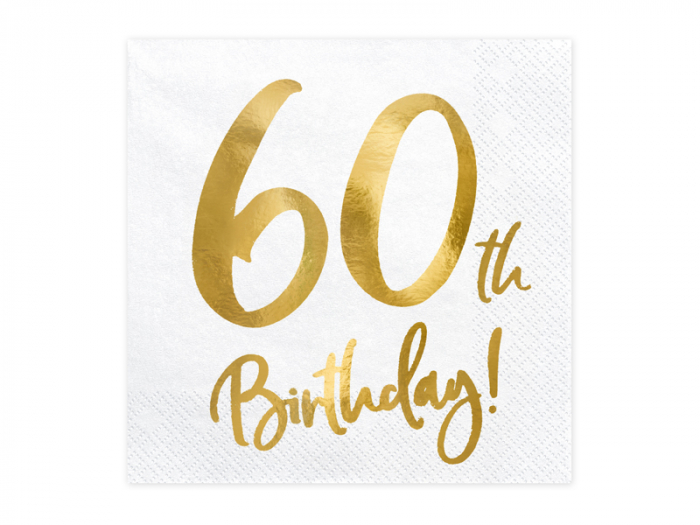 Set 20 Servetele aniversare 60th Birthday 0