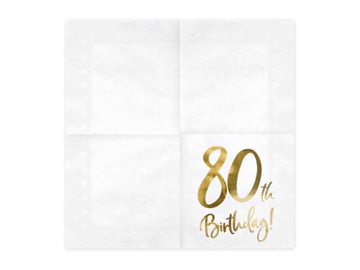 Set 20 Servetele aniversare 80th Birthday 1