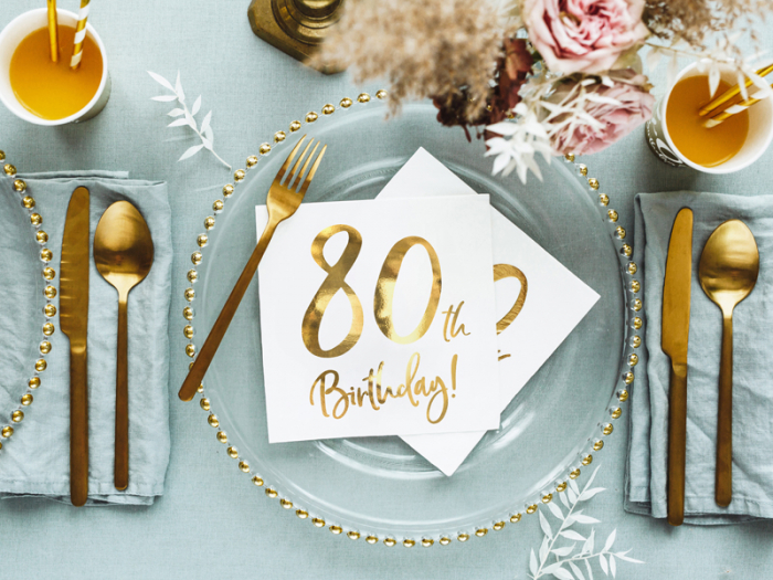 Set 20 Servetele aniversare 80th Birthday 4