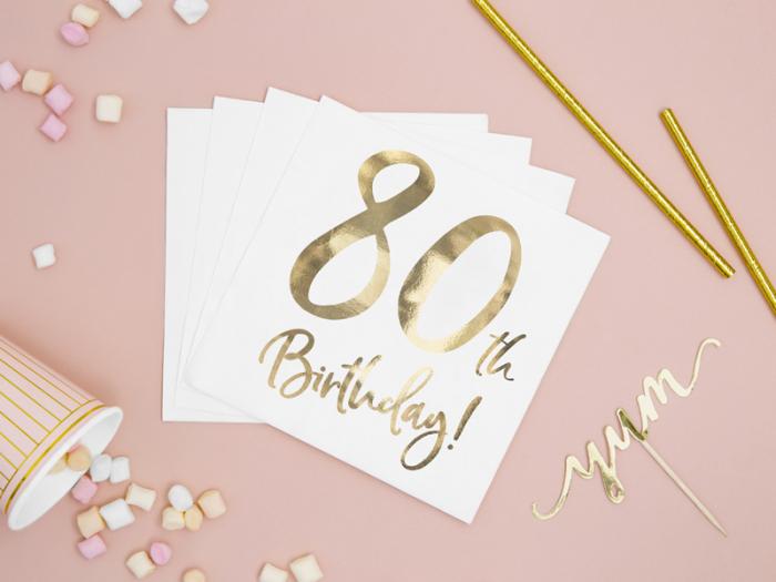 Set 20 Servetele aniversare 80th Birthday 2