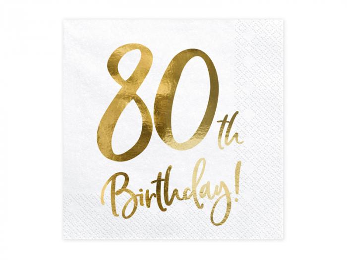 Set 20 Servetele aniversare 80th Birthday 0