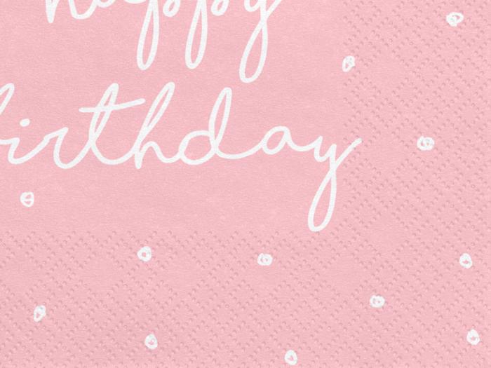 Set 20 Servetele Happy Birthday Roz 1