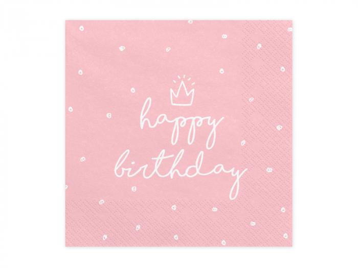 Set 20 Servetele Happy Birthday Roz 0