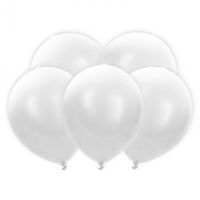 Set 5 Baloane LED, Albe - 30 cm 0