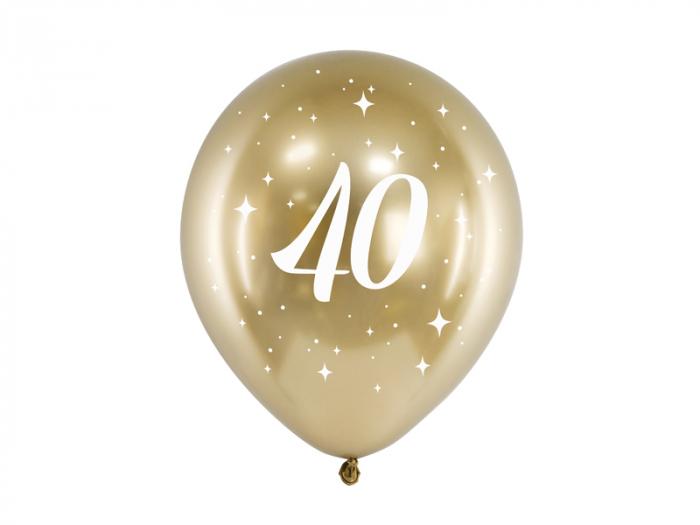 Set 6 Baloane 40 ani, Auriu Metalizat - 30 cm 0
