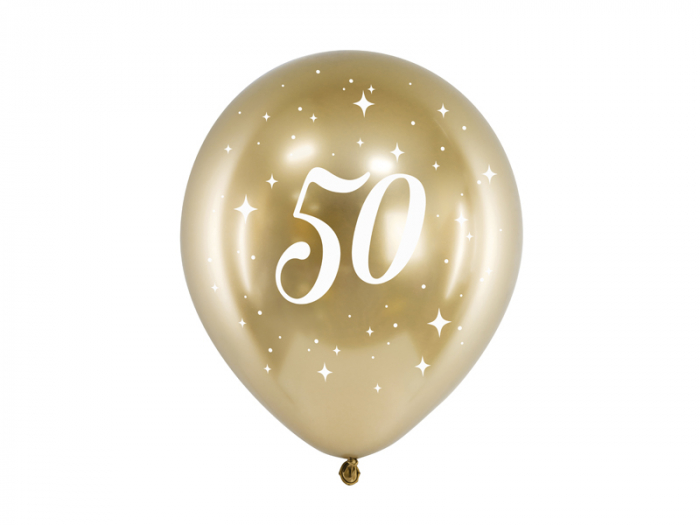 Set 6 Baloane 50 ani, Auriu Metalizat - 30 cm [0]