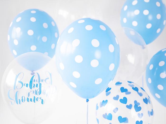 Set 6 Baloane Albastre cu buline albe - 30 cm 1