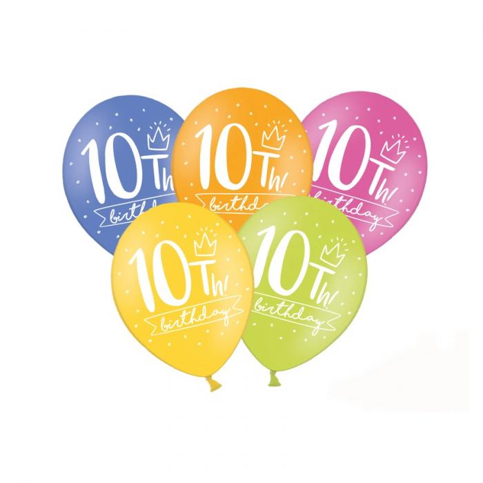 Set 6 Baloane Aniversare 10 ani - 30 cm 0
