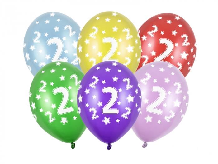 Set 6 Baloane  Aniversare, 2 Ani - 30 cm [0]