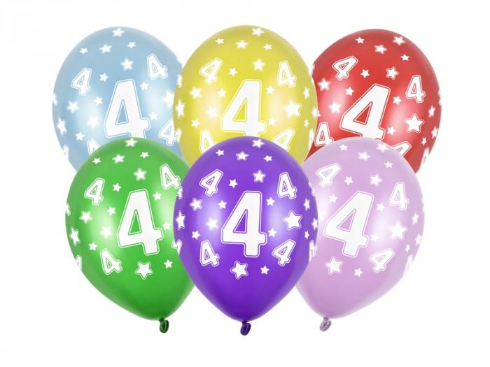 Set 6 Baloane Aniversare, 4 Ani - 30 cm [0]