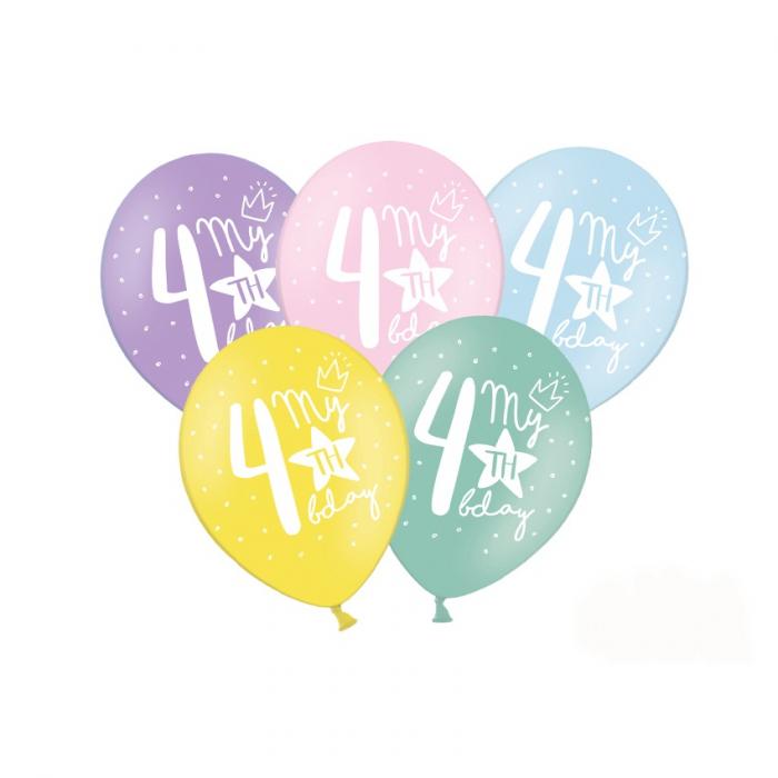 Set 6 Baloane Aniversare 4 ani - 30 cm [0]