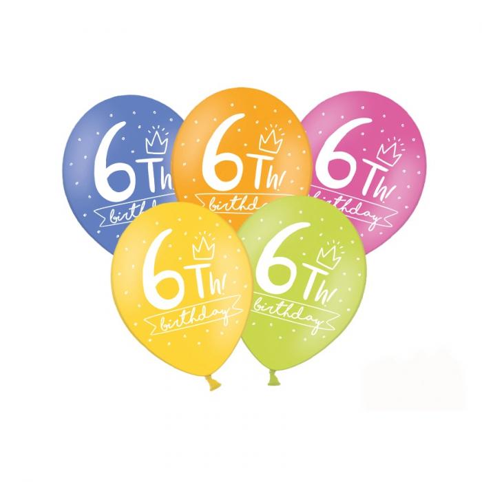 Set 6 Baloane Aniversare 6 ani - 30 cm 0