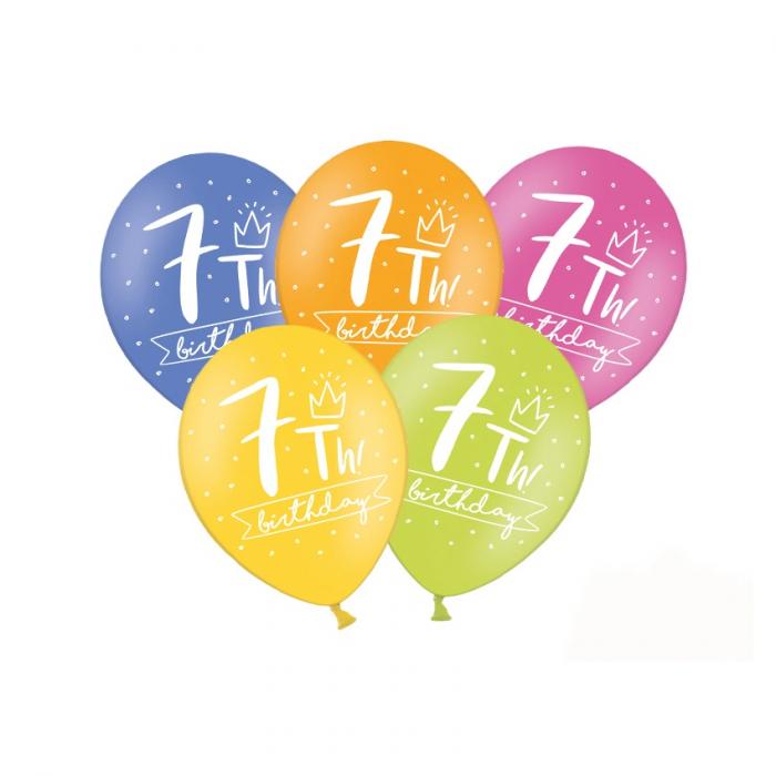 Set 6 Baloane Aniversare 7 ani - 30 cm 0