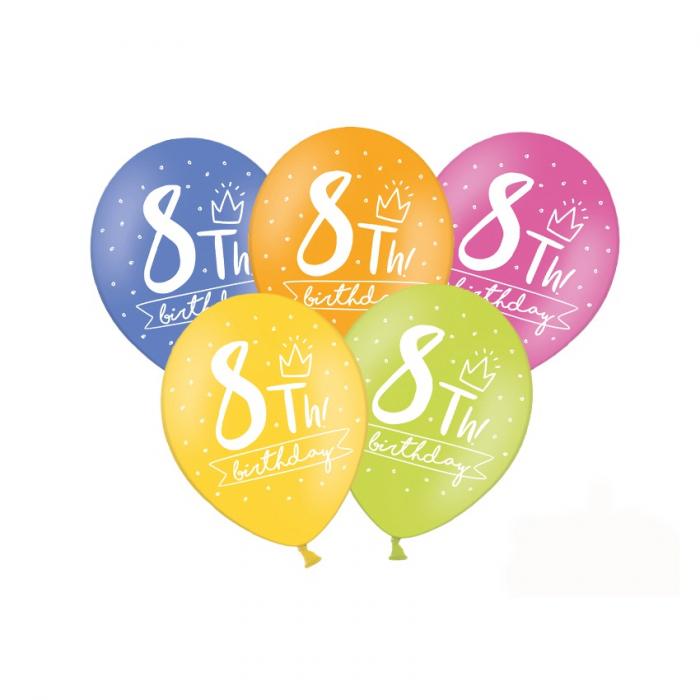 Set 6 Baloane Aniversare 8 ani - 30 cm 0
