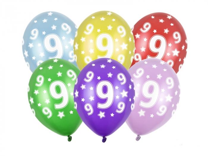 Set 6 Baloane Aniversare, 9 Ani - 30 cm [0]