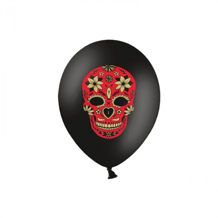 Set 6 Baloane Dia de Los Muertos, negru - 30 cm 0
