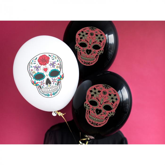 Set 6 Baloane Dia de Los Muertos, negru - 30 cm 1