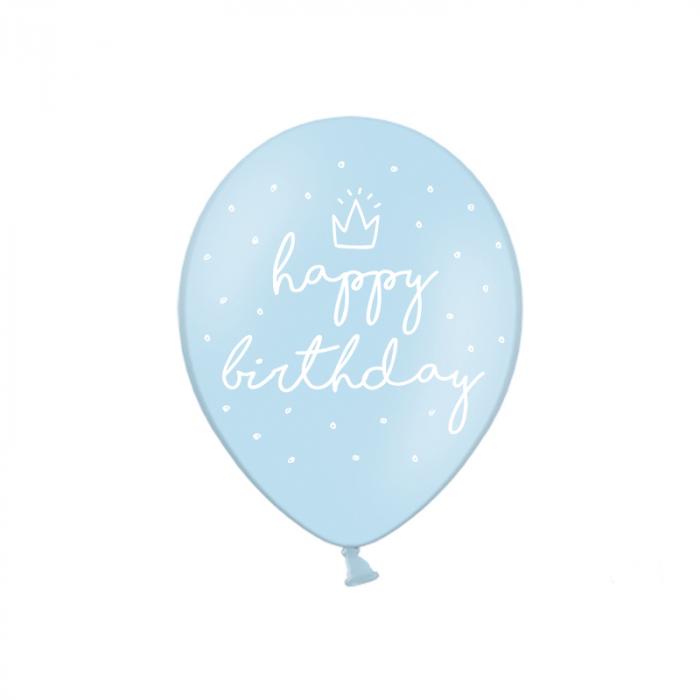Set 6 Baloane Happy Birthday, Albastru - 30 cm 0