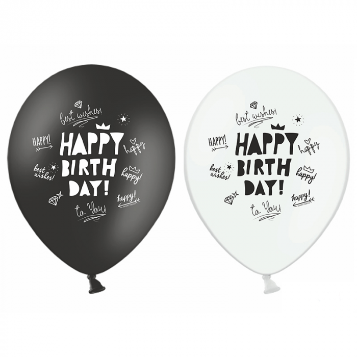 Set 6 Baloane Happy Birthday, Mix - 30 cm 0