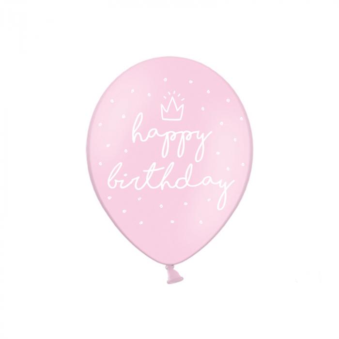 Set 6 Baloane Happy Birthday, Roz - 30 cm 0