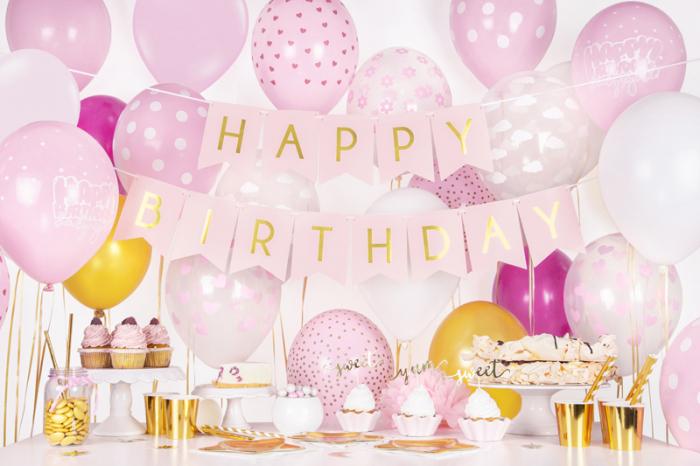 Set 6 Baloane roz cu buline albe - 30 cm 3