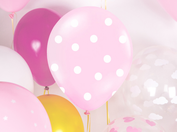 Set 6 Baloane roz cu buline albe - 30 cm 1