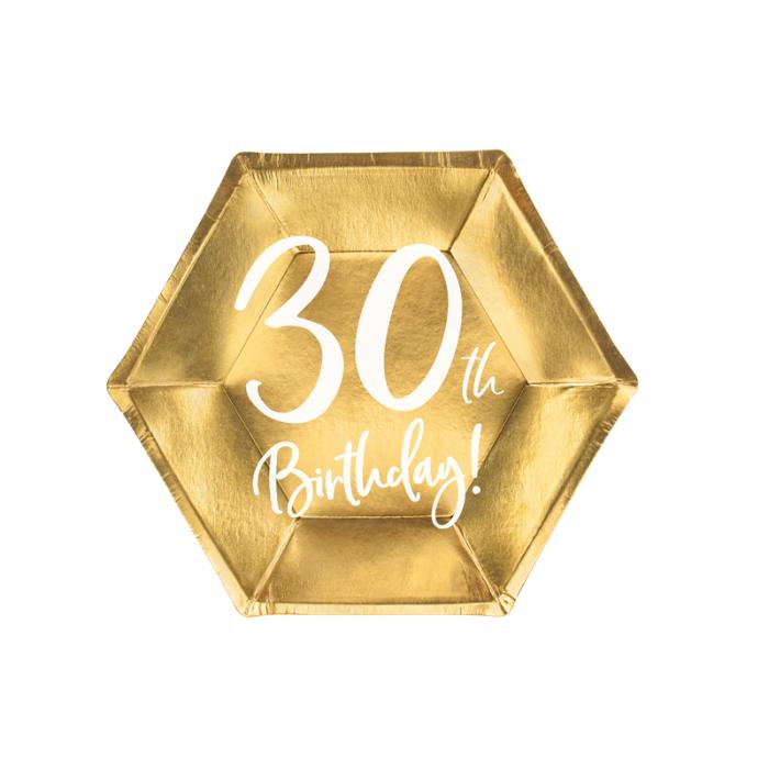 Set 6 Farfurii aniversare 30 ani, 20 cm 0
