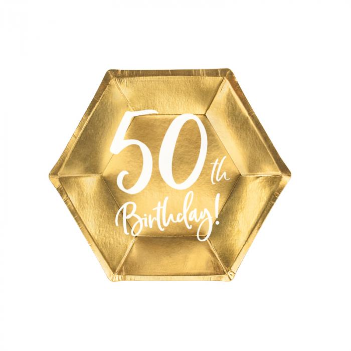 Set 6 Farfurii aniversare 50 ani, 20 cm 0