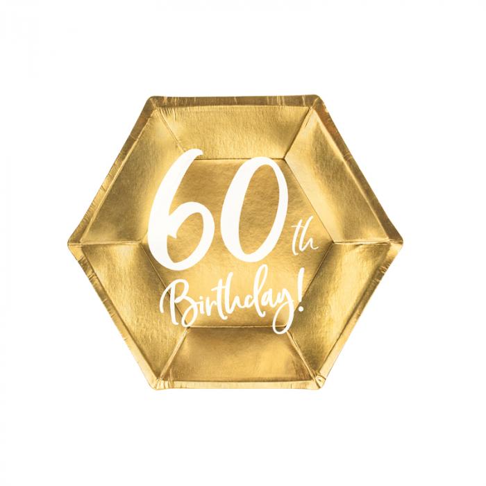 Set 6 Farfurii aniversare 60 ani, 20 cm 0