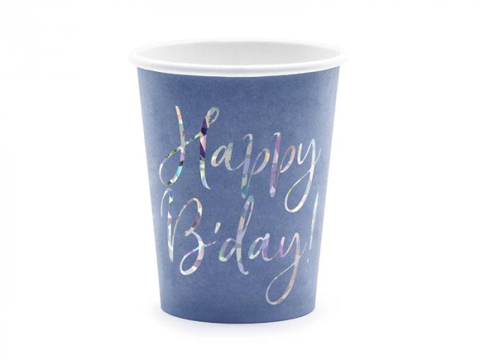 Set 6 Pahare Happy B'day!, albastru, 220 ml [0]