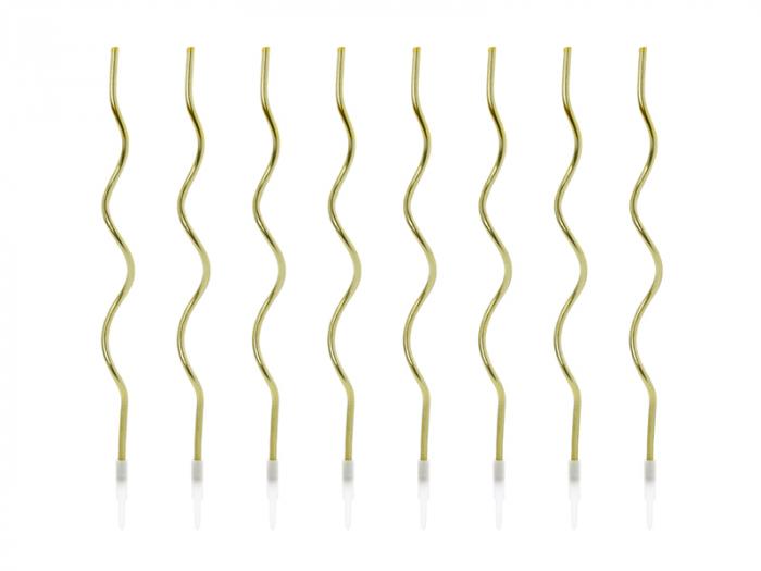 Set 8 Lumanari Spirala, Auriu, 14 cm 0