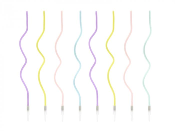 Set 8 Lumanari Spirala, Multicolor, 14 cm 0