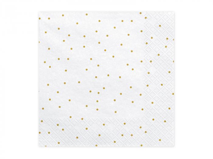Set 20 Servetele Albe cu Buline Aurii [0]