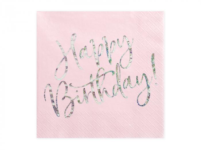 Set 20 Servetele Happy Birthday Roz, 33x33 cm 0