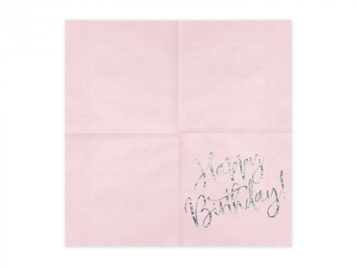 Set 20 Servetele Happy Birthday Roz, 33x33 cm 1