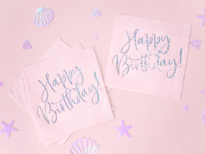 Set 20 Servetele Happy Birthday Roz, 33x33 cm 3
