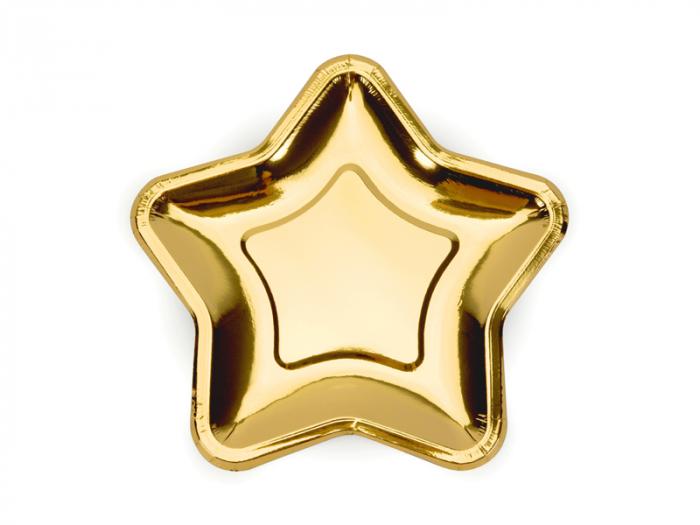 Set 6 Farfurii Stea Aurii, 18 cm [0]