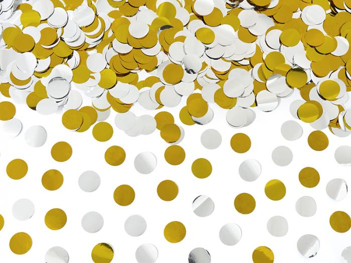 Tun Confetti Cercuri, auriu si argintiu, 80 cm [2]