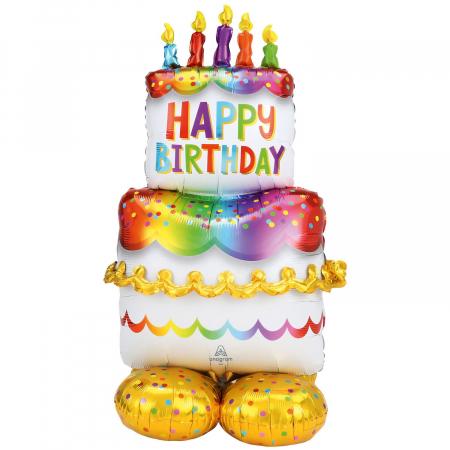 Balon Folie Tort Happy Birthday - 127 cm0