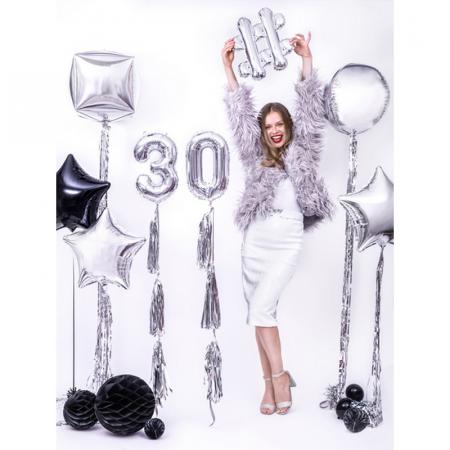 Balon Folie Cifra 0 Argintiu, 35 cm2