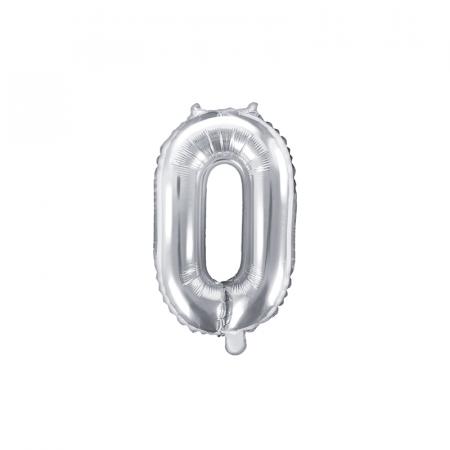 Balon Folie Cifra 0 Argintiu, 35 cm [0]
