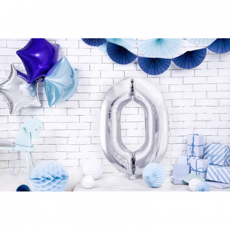 Balon Folie Cifra 0 Argintiu, 86 cm [2]