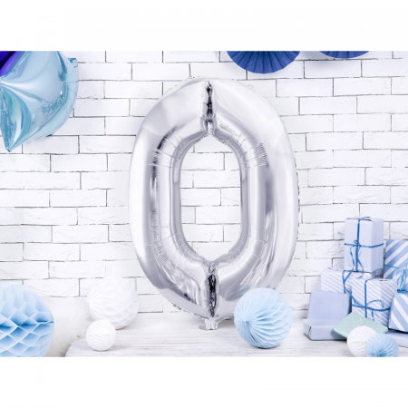 Balon Folie Cifra 0 Argintiu, 86 cm [1]