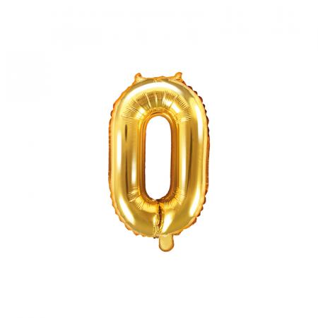 Balon Folie Cifra 0 Auriu, 35 cm0