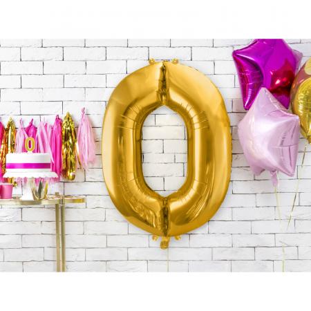 Balon Folie Cifra 0 Auriu, 86 cm [1]
