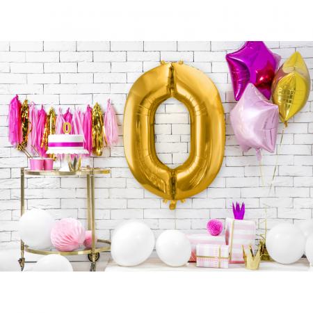 Balon Folie Cifra 0 Auriu, 86 cm [2]
