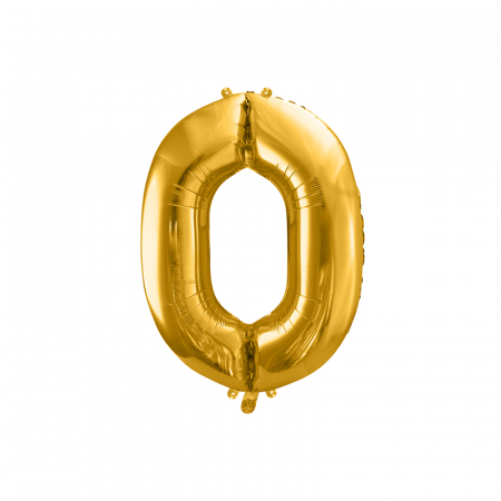 Balon Folie Cifra 0 Auriu, 86 cm [0]